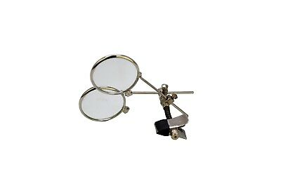 """Clip-On 1"""" Dual 3.3x 3.3x Nickel Eye Glass Loupe Set Magnify Magnification V5417"""