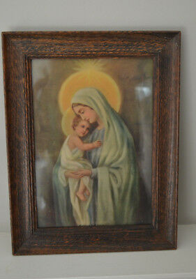 Very Old Religious Virgin Mary Jesus Madonna Child Picture Original Oak Frame