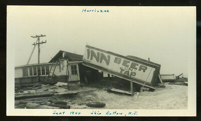 Photo by Lynn, Great Atlantic Hurricane damage SHIP BOTTOM broken bar sign 1944
