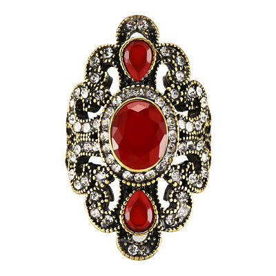Retro Ethnic Crystal Gem Inlaid Hollow Carve Rhinestone Ring Vintage Jewelry New