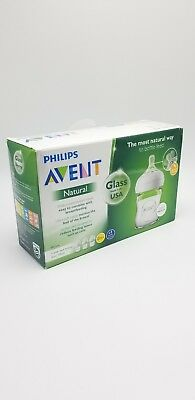 Philips Avent Natural Glass Bottle 4oz Ultra Soft Nipple Brand New Open Box