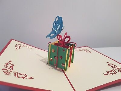 3D Laser Handmade Pop Up Happy Birthday Present Greeting Card with Butterfly.
