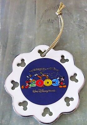 Walt Disney World 2003 MAGICAL PLACE TO BE Porcelain Christmas Tree Ornament