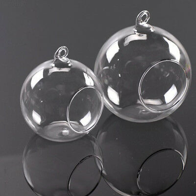 154F 0B27 Style HANGING GLASS BAUBLE SPHERE BALL CANDLE TEA LIGHT HOLDER VASE.