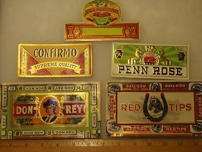 Cigar Box Side Labels - Perfecto Garcia, Don Rey, Red Tips, Confirmo, Penn Rose