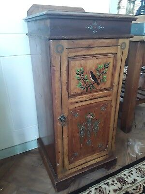 Antique Victorian Pine Pot Cupboard Hand Painted in the Aesethic Style