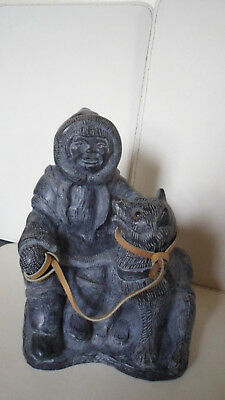 Vintage Inuit Eskimo Stone Carving Of a Man and His Dog