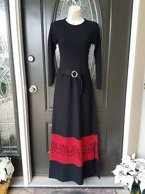 Vintage 60's Holiday Knitwear Fabulous Dickens Christmas Maxi dress