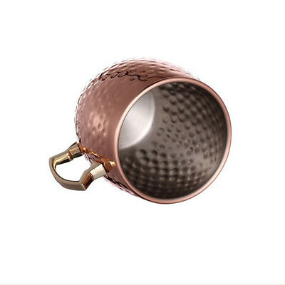 1 X Pure Handmade Moscow Mule Hammered Copper Mug Glass Cup Brass Handle 16 OZ