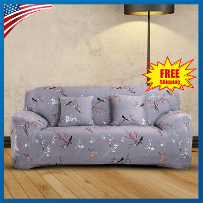 1/2/3 Seater Stretch Elastic Floral Fabric Sofa Cover Couch Covers Spandex US