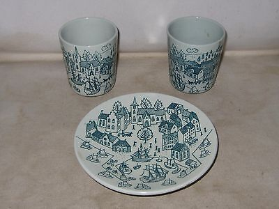 Nymolle Art Faience Hoyrup Limited Edition 4006 Denmark Two Cups And One Saucer