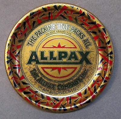 vintage ALLPAX PACKING Mamaroneck NY  tin litho tip tray ashtray MINT