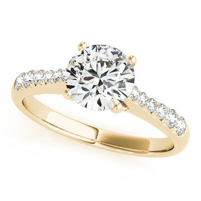 1.20 Ct VVS1/D Round Cut Lab Diamond Engagement Ring 14K Yellow Gold Size 6 7