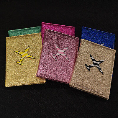 Glitter Air Plane Airsoft Glossy Lady Girly Passport Card Case Protection Cover