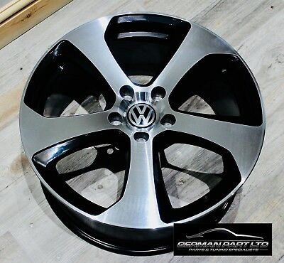"4 X 17"" Vw Golf Gti Alloy Wheels Mk7 Gtd Austin Black Rims Caddy"