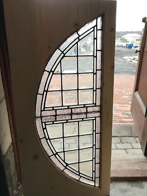 Sg2666 Antique Beveled In Textured Glass Arch Window 21.5 X 46.5