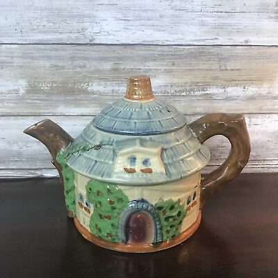"""Vintage Cottage House Teapot with Lid Made in Japan Crackled 6"""" Tall"""