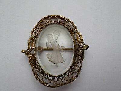 Antique late 19th early 20th century reverse carved glass dancing lady brooch