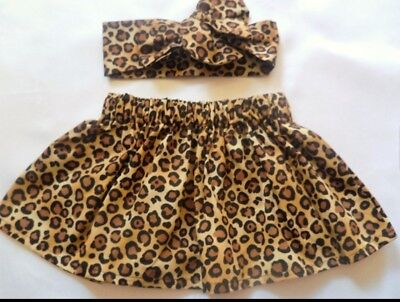 Cute Summer Spring Leopard Cheetah Print Baby's Skirt and Headwrap New