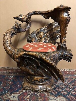 Rare Hand Carved 19th Century Venetian Swan Grotto Chair Grand Tour Rococo