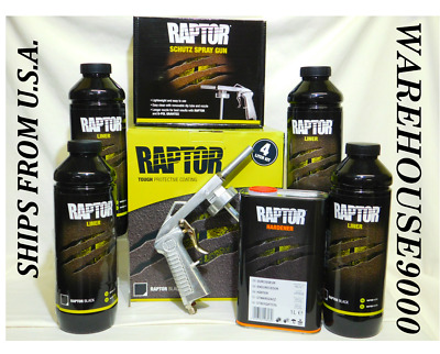 "Up0820 U-Pol Raptor ""black"" Spray-On Truck Bed Liner Kit Save Money Diy"