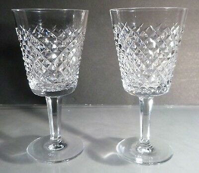 "*VINTAGE* Waterford Crystal ALANA (1952-) Set 2 Water Goblets 7"" Made Ireland"