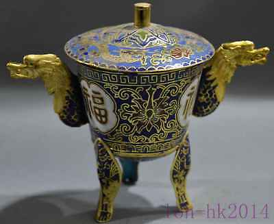 Old Collectable Chinese Cloisonne Carve Totem Flower Dragon Eras Lucky Wine Cup