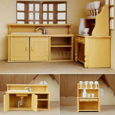 Cabinets Plastic Kitchen Miniature DollHouse Furniture Dining Set Room Kids Toy