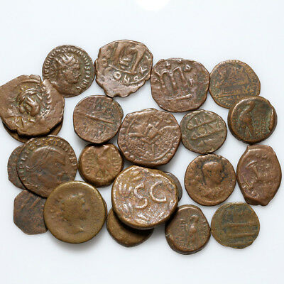 Lot of 25 uncertain Ancient Greek-Roman-Byzantine & Islamic Bronze coins