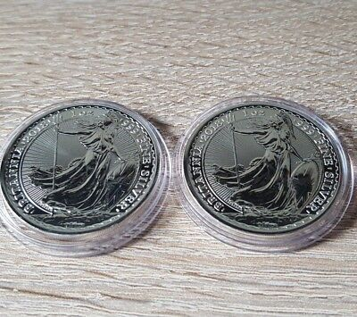 2 x 2018 UK Britannia 1 oz .999 Silver Coin (perfect condition/ in capsule)