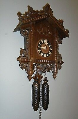 Antique CUCKOO CLOCK Railroad Style BLACK FOREST made in GERMANY  Ornate