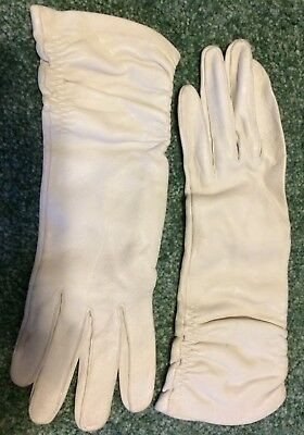 Vintage Long White Leather Gloves Size 7 1/2 Made In Usa