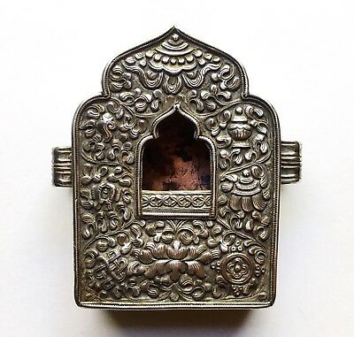 Antique Tibetan Sterling Silver Repousse Gau Box Small Buddhist Altar 19th C.