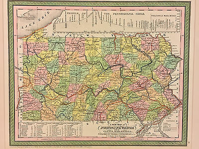 "Antique ""A New Map of Pennsylvania"" 1850 Pub by Thomas Cowperthwait Framed"