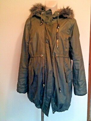 H&m Mama Maternity Khaki Waterproof Parka Coat Mac Jacket Size L Uk 16-18