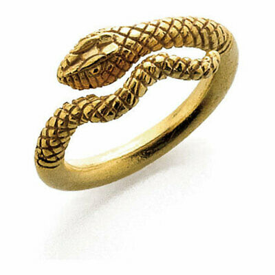 22K Yellow Gold Fine 925 Sterling Silver Textured Egyptian Cleopatra Snake Ring