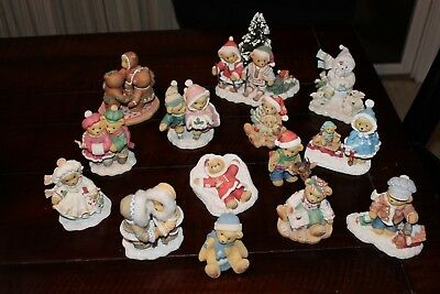 Cherished Teddies - Lot of 14 Christmas and Winter Figuines