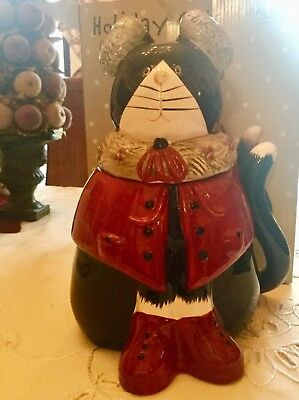 rare NEW IN BOX Sakura COZY CATS hand-painted COOKIE JAR Holiday FREE SHIPPING