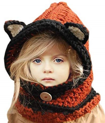 d8eb6793a0c Sumolux Winter Kids Warm Fox Animal Hats Knitted Coif Hood Scarf Beanies for