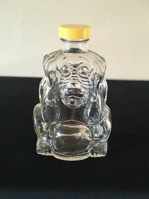 """Figural """"Monkey Hear No Evil"""" Glass Bottle with Plastic Cover; FREE SHIPPING"""