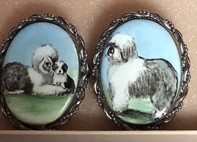 Pair Of Vtg Old English Sheepdog Silver Oval Handpainted Pins Brooches Pendants