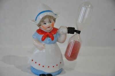 Vintage Porcelain Dutch Girl Hourglass Egg Timer