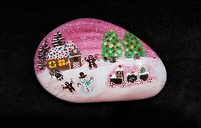 Christmas, Gingerbread house , Hand Painted, River Rock, Art,Paper weight, Gift
