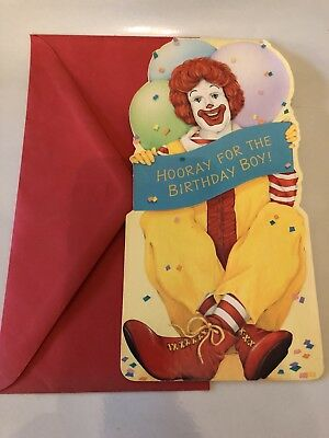 Vintage Unused Ronald McDonald Birthday Card with Envelope