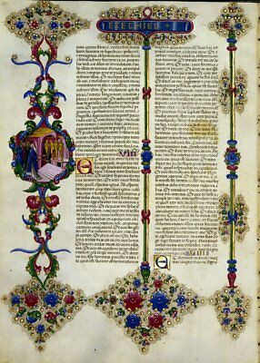 Bible of Borso d'Este EZEKIEL   Illuminated Manuscript - Gold Accents NEW