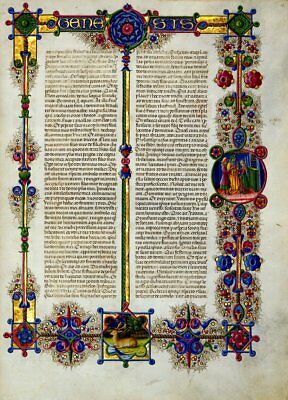 Bible of Borso d'Este GENESIS  Illuminated Manuscript - Gold Accents NEW