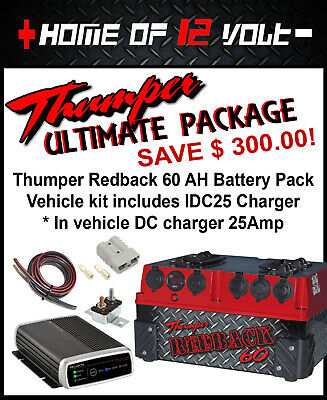 Thumper Redback 60 AH AGM Portable dual battery + IDC25 DC Charger complete kit