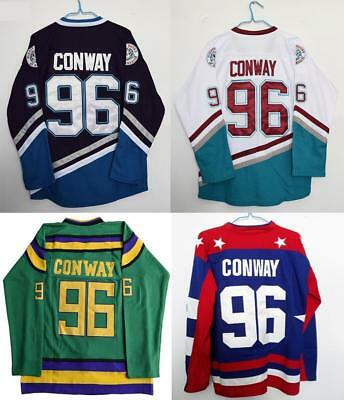 YOUTH - KIDS Charlie Conway #96 Mighty Ducks Official Hockey Movie Jerseys. S-XL