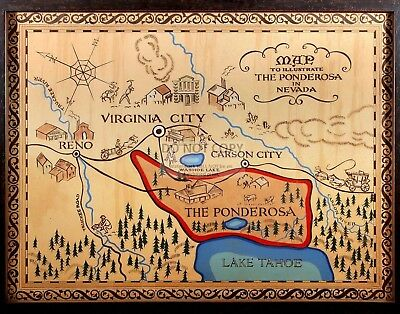 "Map Of The Ponderosa From The Tv Series ""Bonanza"" 11X14 Publicity Photo (Lg-155)"