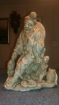 Beautiful Rare Old Antique Chinese/asian Carved White Marble Fisherman Statue!!!
